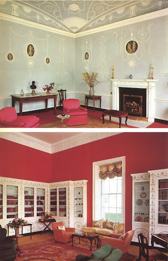 The Wedgwood room/library of the Italian embassy in Dublin, both examples of some of the oldest remaining Adam style interiors.