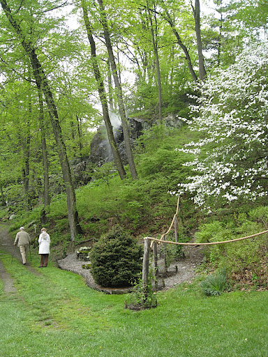 At the beginning of the main path through the garden. In the middle background, you can see the mysterious mist-spewing water feature in the rocks.