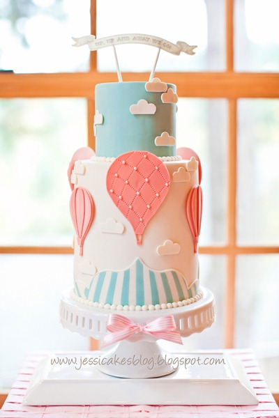 Baby Shower Vintage Hot Air Balloon Cake