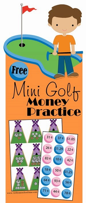 Mini Golf Money Practice - Fun math game for Kindergarten, 1st grade, and 2nd grade kids.