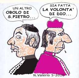 Monsignore e cardinale corrotti. Vignetta satirica (NV 2010)