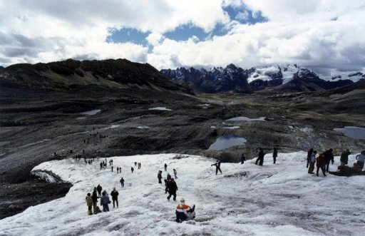 Part of the Pastoruri snowcapped mountain in the central Peruvian Andes, 450 km east of Lima. Peru needs a permanent monitoring system to gauge Andean mountain glacier shrinkage caused by global warming and its effect on people who depend on the ice for water. AFP