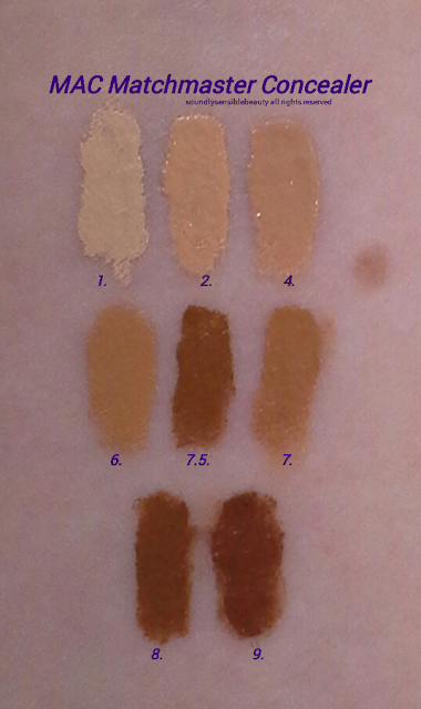 MAC MatchMaster Concealer Stick Review & Swatches of Shades #1, #2, #4, #6, #7.5, #7, #8, #9