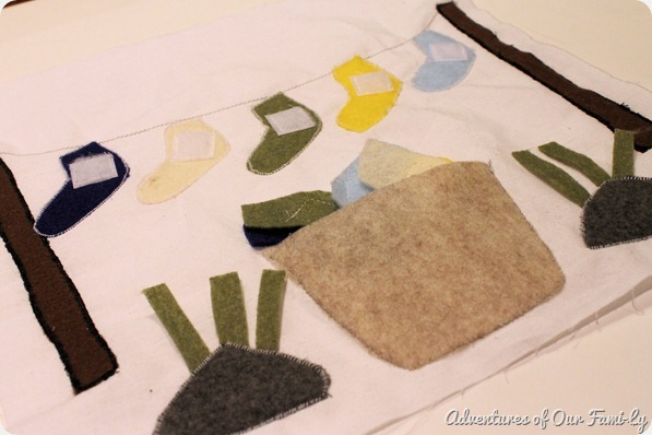 Quiet book DIY sock matching page
