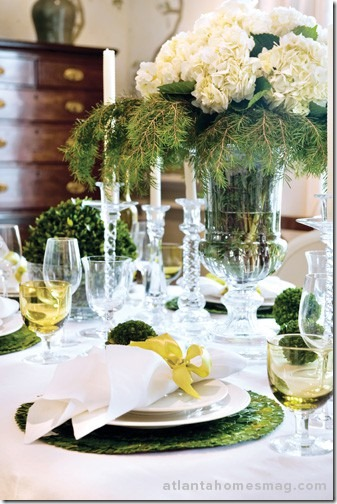 white flowers and greens via atl homes mag
