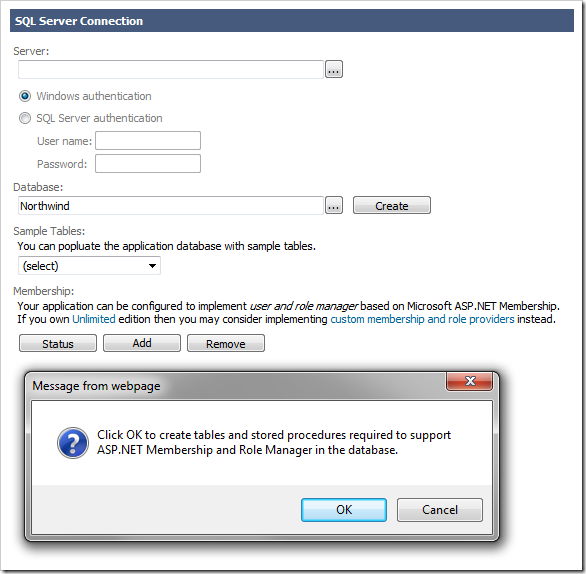 Prompt asking to create tables and stored procedures to support ASP.NET Membership and Role Manager in the database.