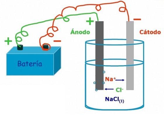 Partes de una celda electrolítica