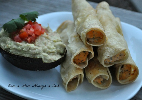 Creamy Avocado Dip with Chicken Taquitos