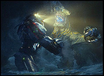 Gipsy Danger battles a titanic category 3 Kaiju Knifehead somewhere in the middle of the sea
