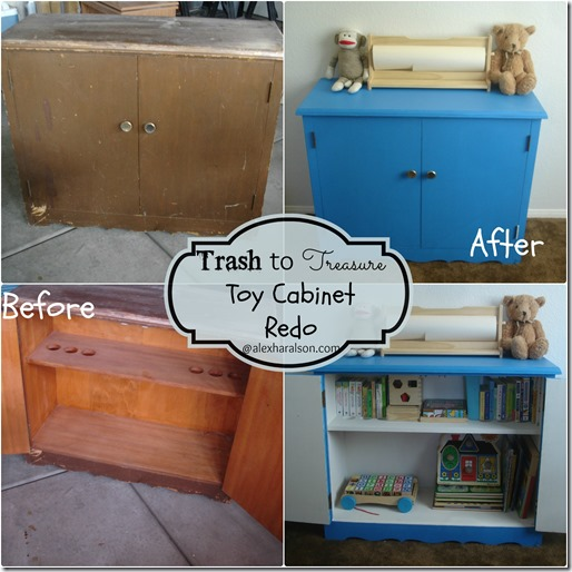 Bright Blue Trash to Treasure Toy cabinet redo before and after2