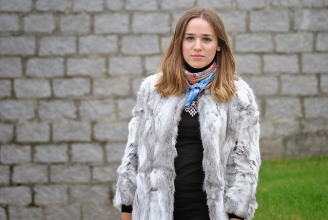 grey faux fur coat hermes style in madrid 4