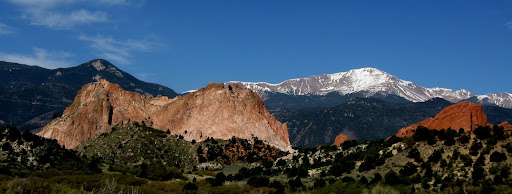 Grey Rock, Montezuma Tower, and South Gateway Rock with Cameron Cone and Pikes in the background.