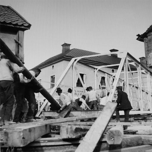 Arbete med att flytta Eddaspången 1901