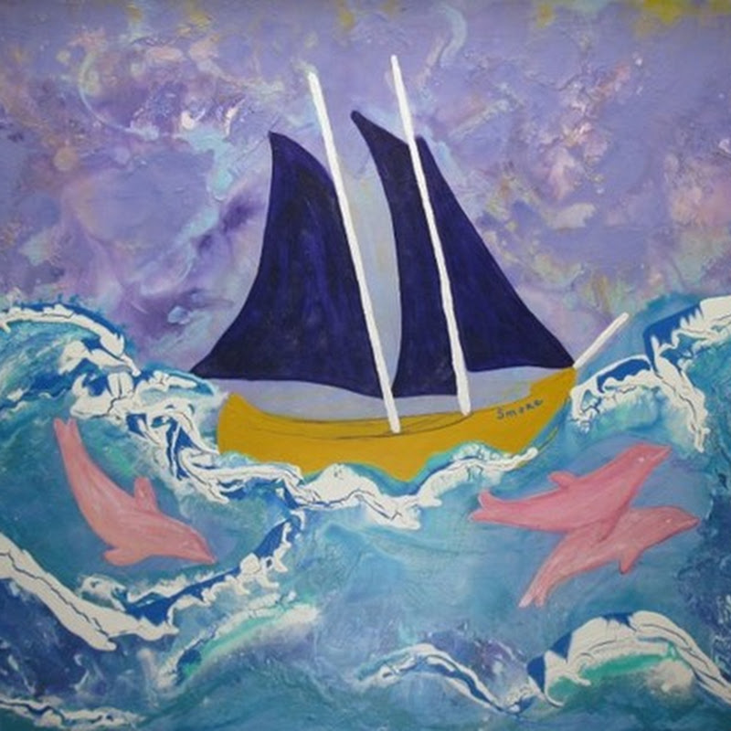 Susan Prinz Artist - Whimsical Sail Boat with Dolphins