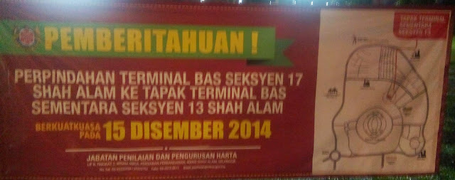Pemberitahuan Pemindahan Terminal Bas Shah Alam