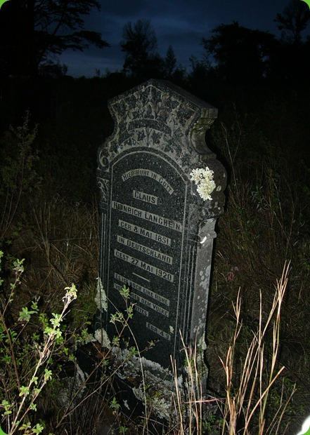 Claus Langhein, Tombstone, Frankfort Eastern Cape
