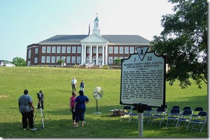 Warren Co. High School & Massive Resistance Marker in front of High School