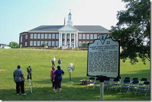 Warren Co. High School & Massive Resistance Marker in front of High School