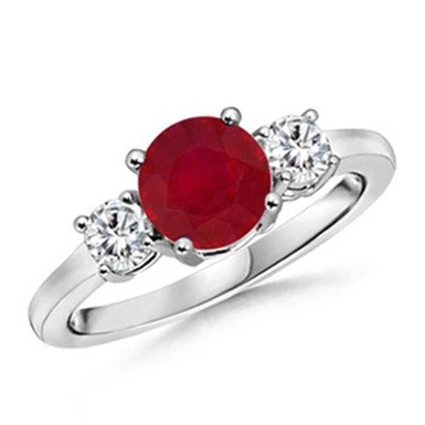 Round Ruby and Diamond Three Stone Ring