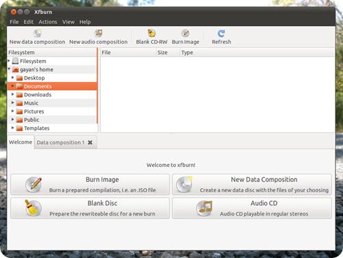 xfburn in ubuntu 11.04 screenshot