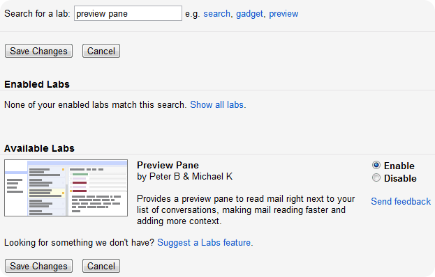 preview pane gmail lab