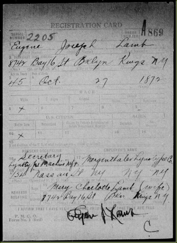 Eugene-Joseph-Lamb,-WWI-draft-registration,-p1