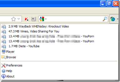 Ant Video Downloader menu