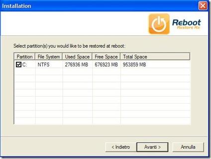 Reboot Restore Rx indicare hard disk da monitorare