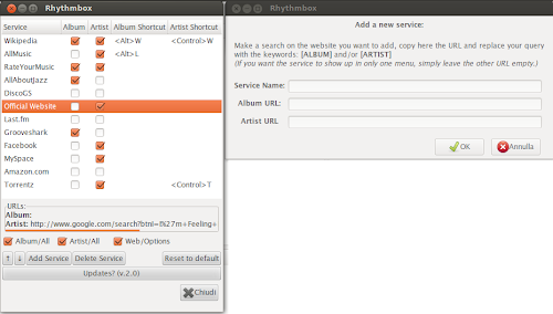 Rhythmbox Web Menu 2.2 su Ubuntu - preferenze