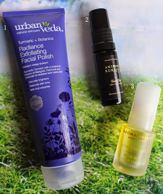 Urban-Veda-Radiance-Exfoliating,Antonia-Burrell-Forest-Dew,Aromatherapy-Associates-Face-Oil