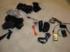 Stuff for top flap - gloves, hats, steripen, spork, sunglasses, GoalZero Guide 10, cameras, joby pod, LED light, Spot (later removed)