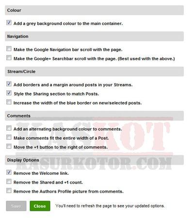 Mengatur/Kustomisasi Tampilan Google Plus