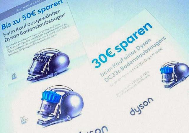 dyson bonus aktion 50 Euro und 30 Euro