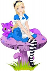 12976444-alice-in-wonderland-and-cheshire-cat-on-mushroom