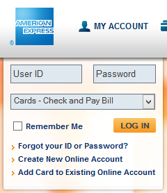 "A ""remember me"" box on the American Express website"