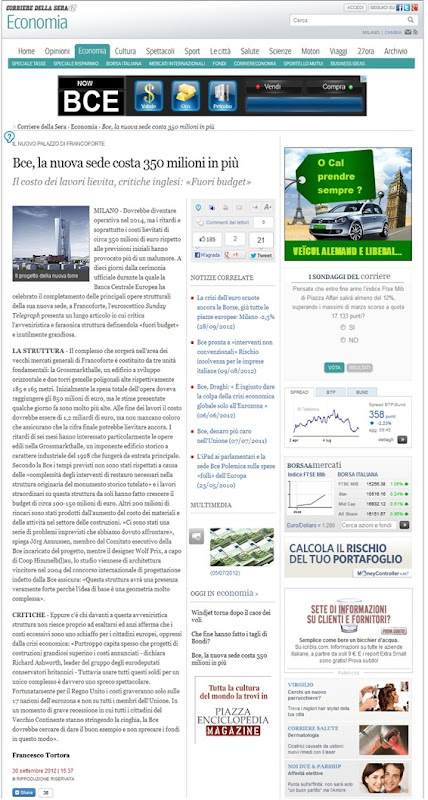 Sièti de la BCE Corriere de la Serra