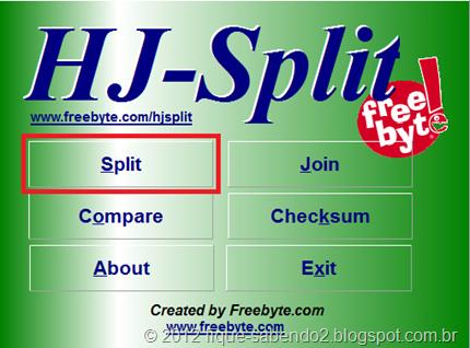 Clique em Split