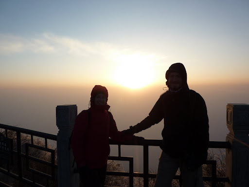 Lynette and I at sunrise on top of Emei Shan!
