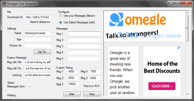 Increase Adf.ly Clicks through Omegle Chat Spreader