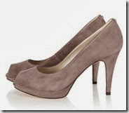 Suede and Leather Platform Peep Toe