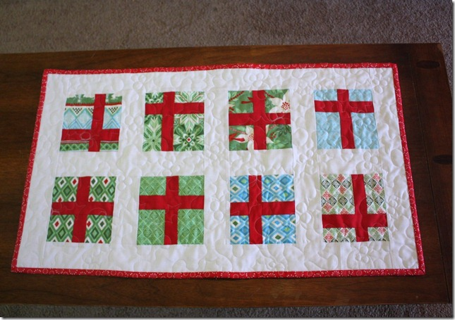 Simple Gifts Christmas Runner Quilted and Bound