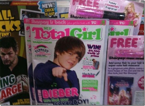 Justin Bieber na capa da revista total girl