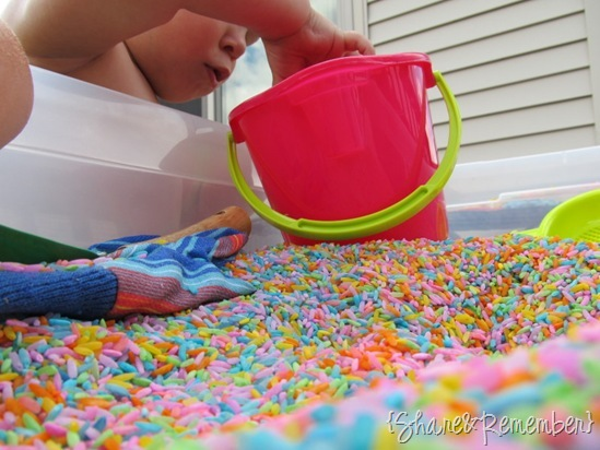 sensory bin for preschoolers gardening theme Rainbow Rice & Garden Sensory Play