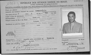 Eroll Flynn's 1954 Brazilian immigration card