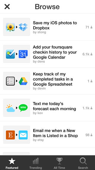 Ifttt screen 1