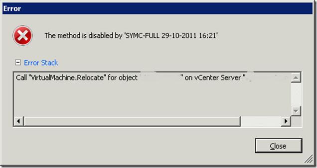 Storage vMotion Failed