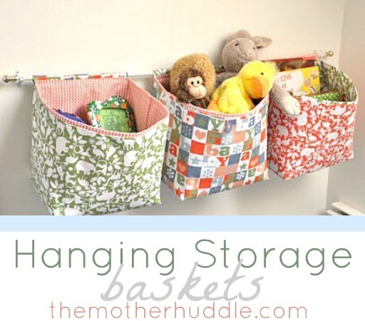 Hanging Storage Baskets Tutorial by The Mother Huddle