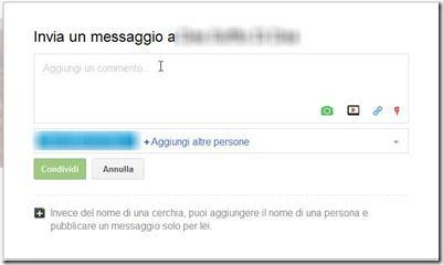 inviare messaggio tramite Google Plus