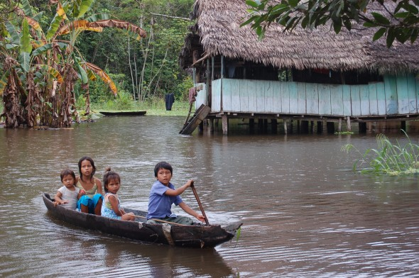 Children navigating Amazon flooding in Peru, April 2012. Mary Shipman / My Shot