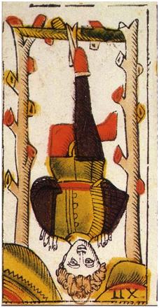Le Pendu, Tarot de Jacques Vieiville, sig.XVII